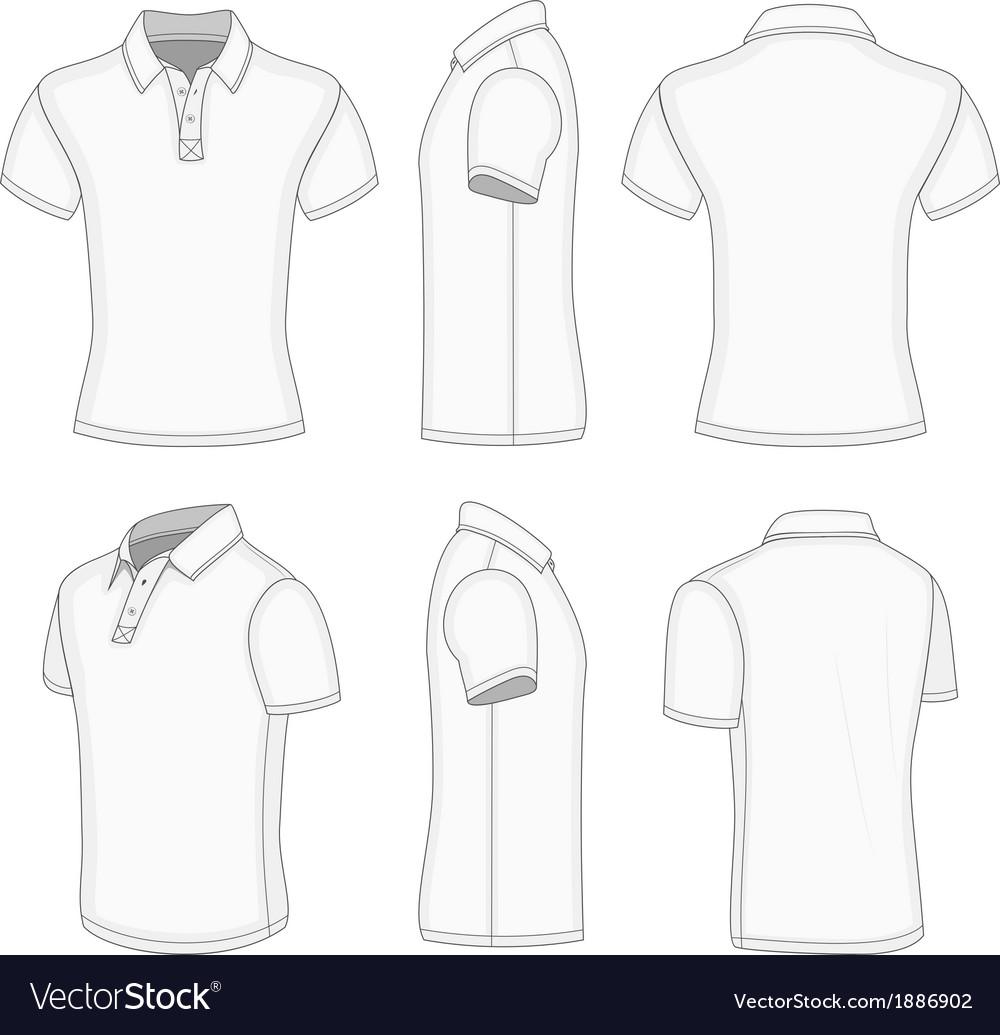 Mens white short sleeve polo shirt vector