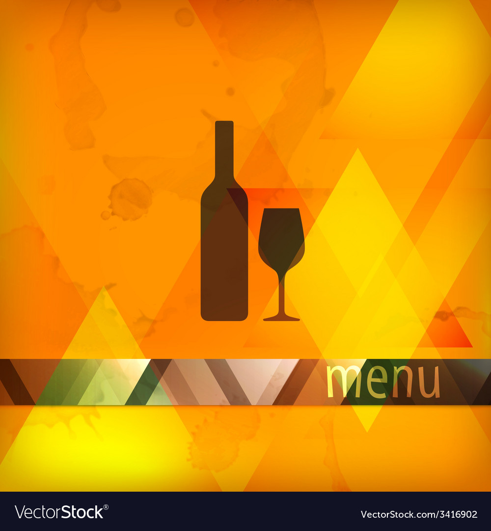 Menu design with bottle and wineglass sign vector | Price: 1 Credit (USD $1)