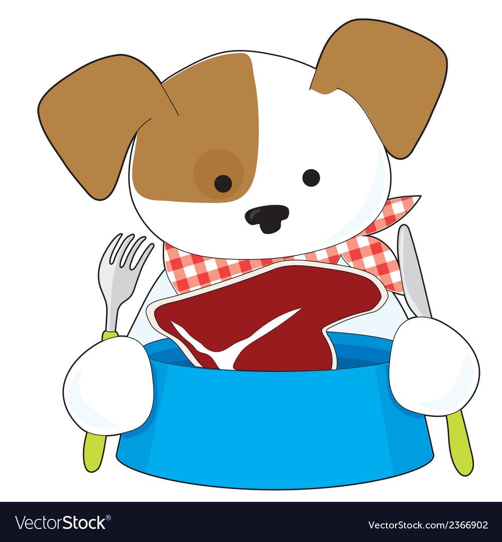 Puppy eating steak vector | Price: 1 Credit (USD $1)