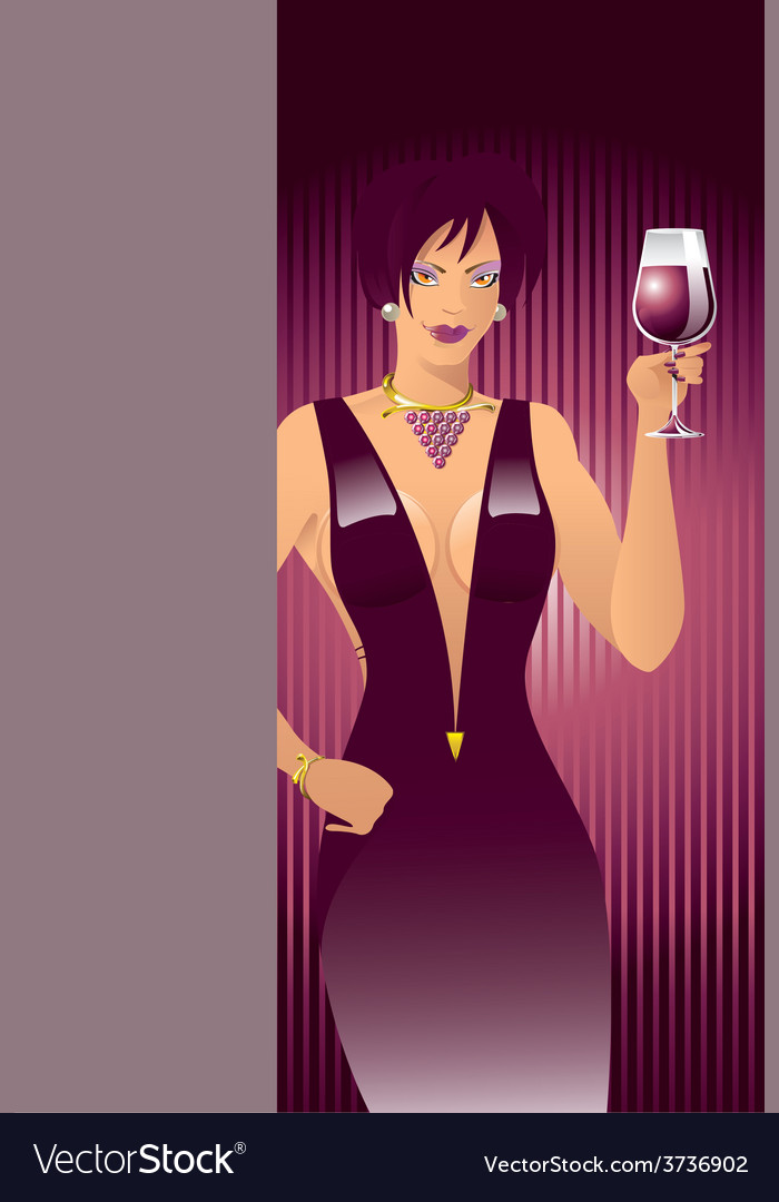 Red-wine-girl vector | Price: 1 Credit (USD $1)