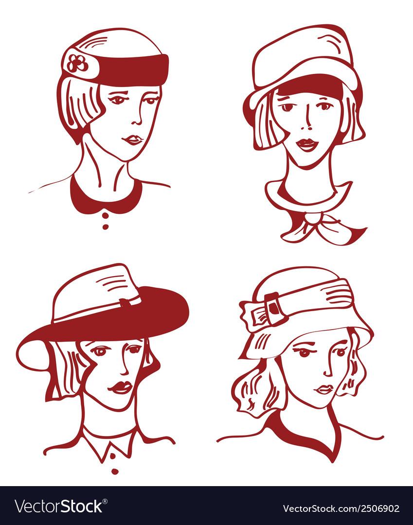 Retro woman in hats hand drawn design vector | Price: 1 Credit (USD $1)