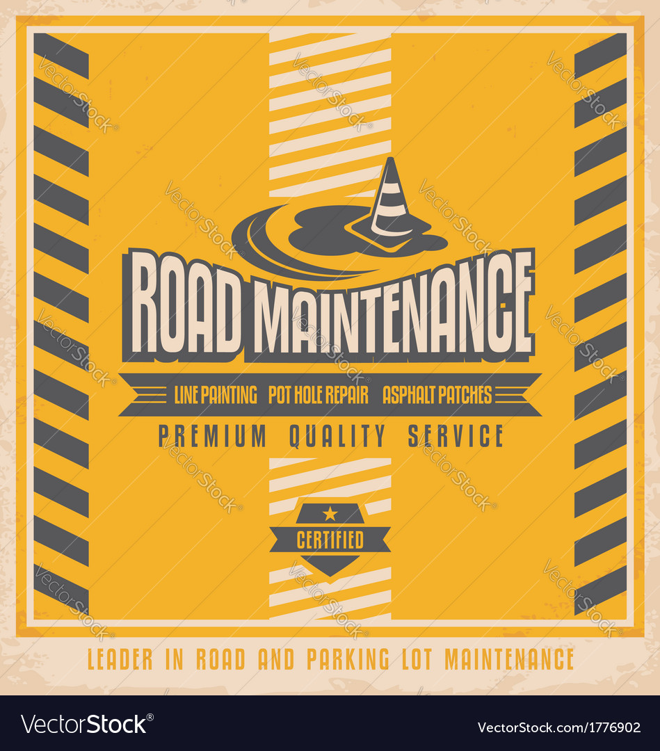 Road construction vintage poster design concept vector | Price: 1 Credit (USD $1)