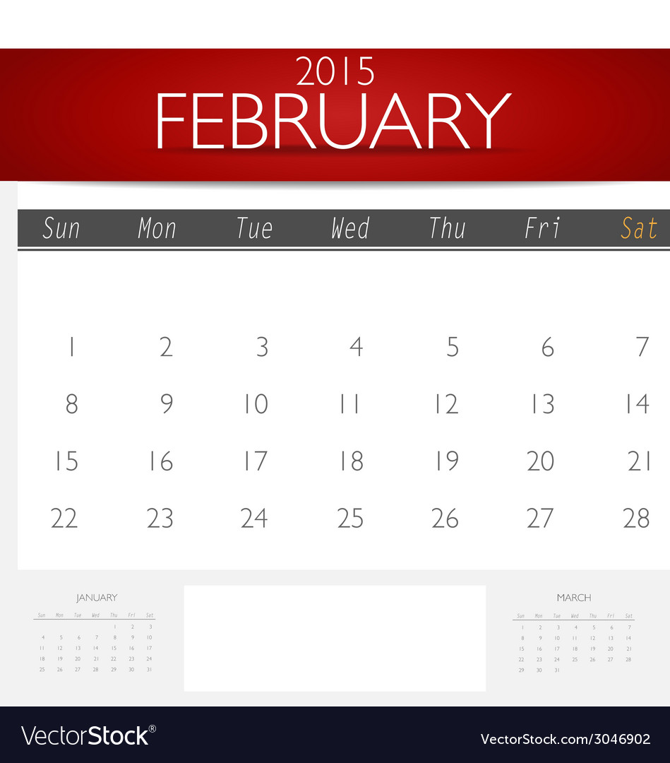Simple 2015 calendar february vector | Price: 1 Credit (USD $1)