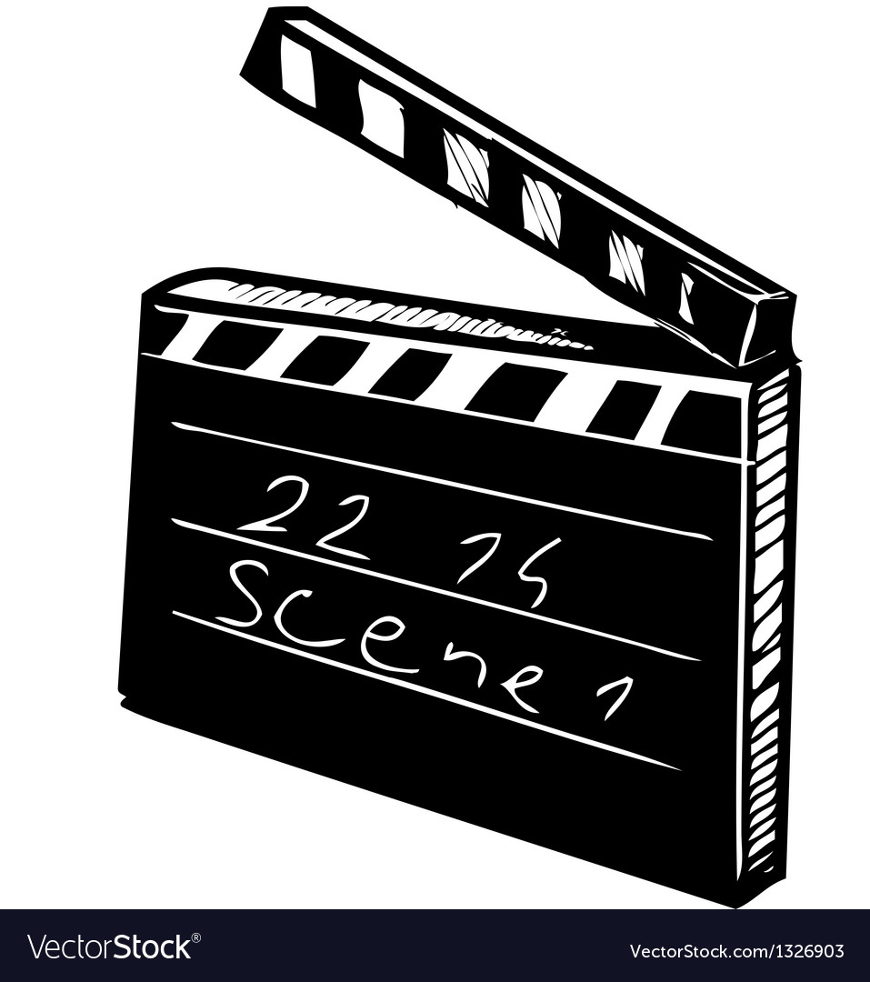 Clapperboard on white background vector | Price: 1 Credit (USD $1)