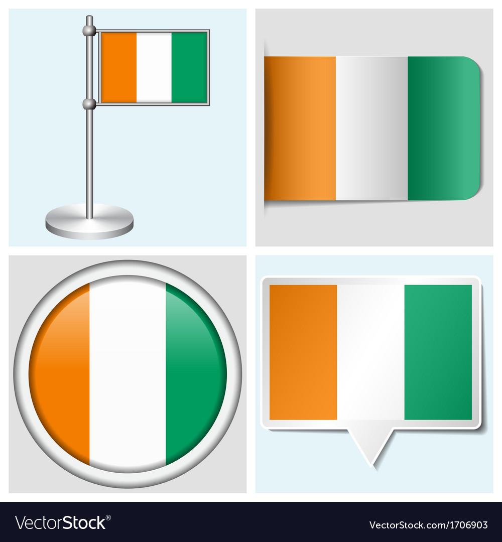 Cote divoire flag - sticker button label vector | Price: 1 Credit (USD $1)