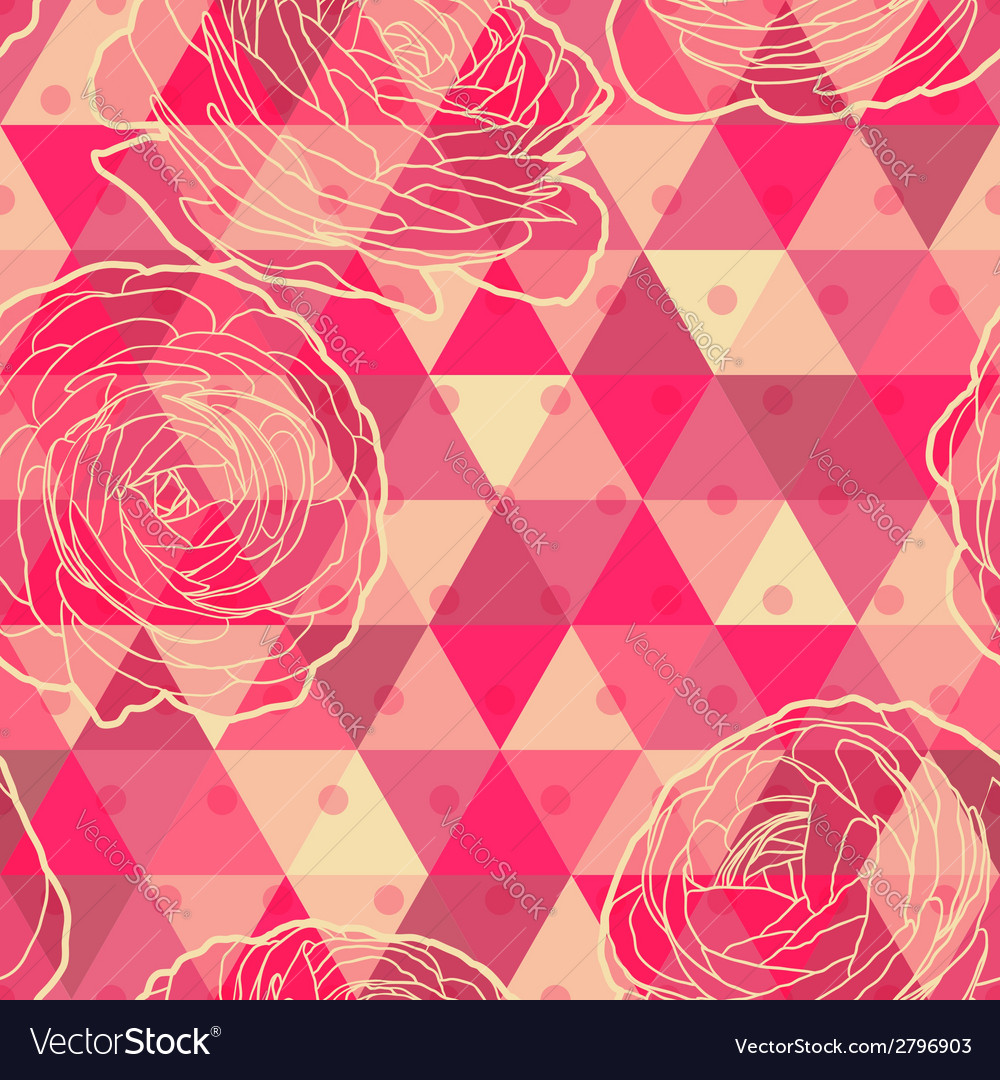 Flower geometrical seamless pattern vector | Price: 1 Credit (USD $1)