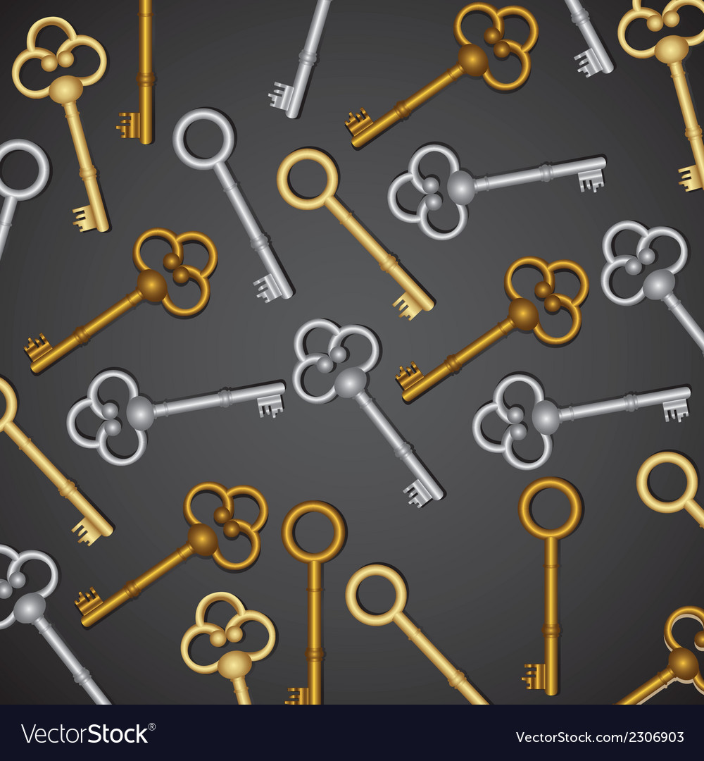 Pattern of old keys gold and silver isolated on bl vector | Price: 1 Credit (USD $1)