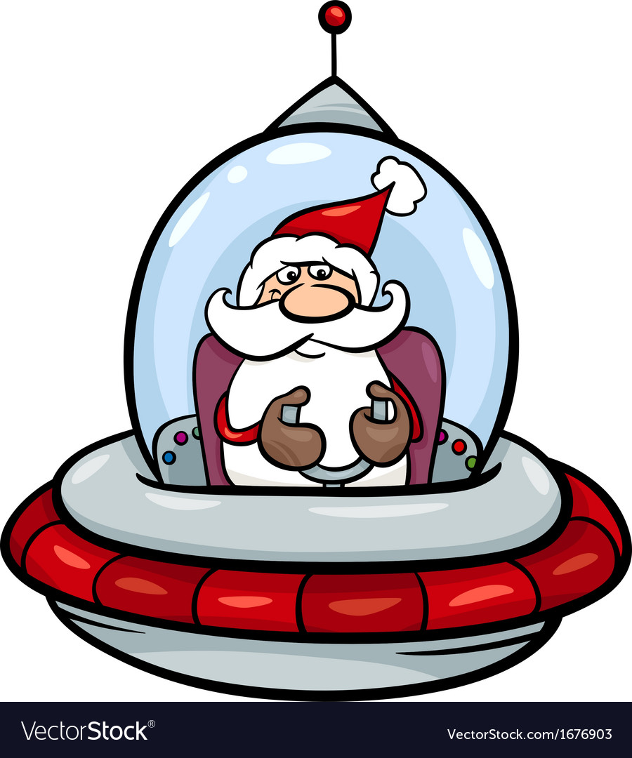 Santa in spaceship cartoon vector | Price: 1 Credit (USD $1)
