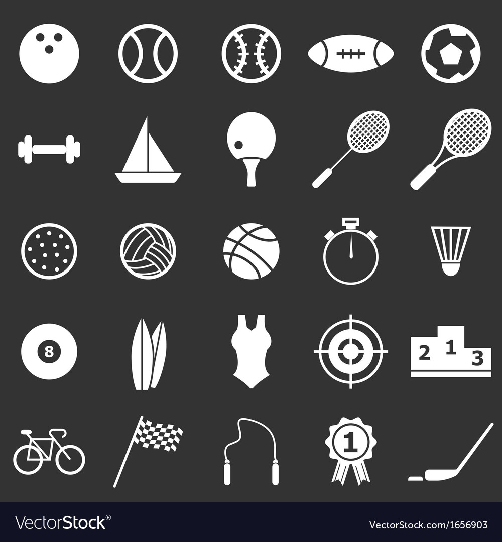 Sport icons on black background vector | Price: 1 Credit (USD $1)