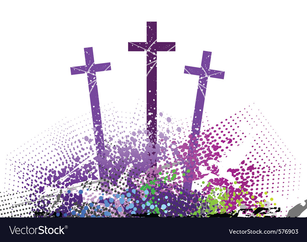 Three cross on the color hill vector | Price: 1 Credit (USD $1)
