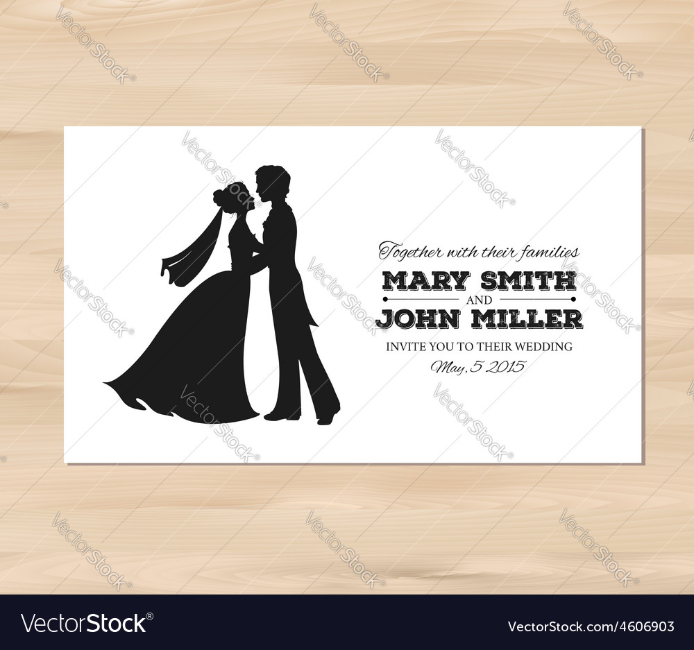 Wedding invitation with profile silhouettes vector | Price: 1 Credit (USD $1)