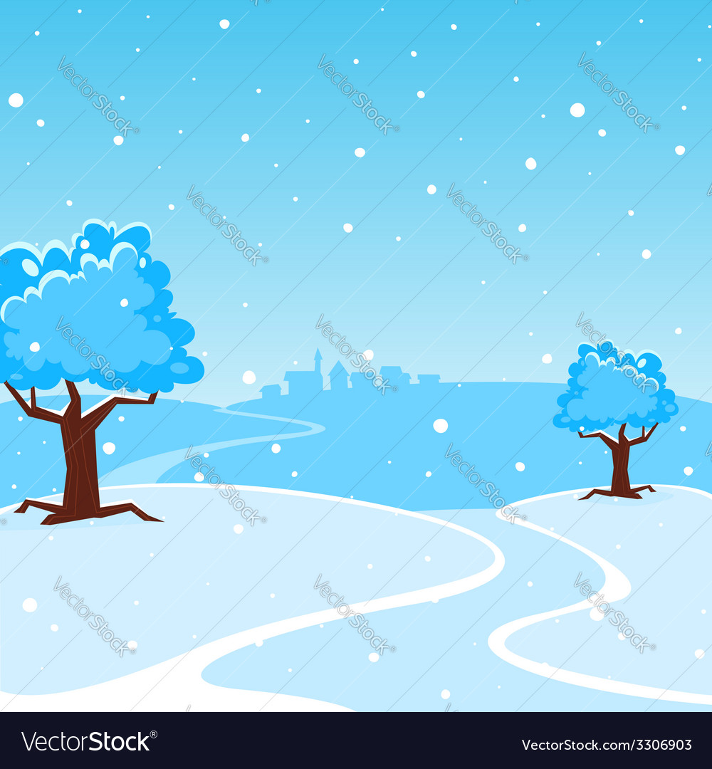 Winter cartoon landscape vector | Price: 1 Credit (USD $1)