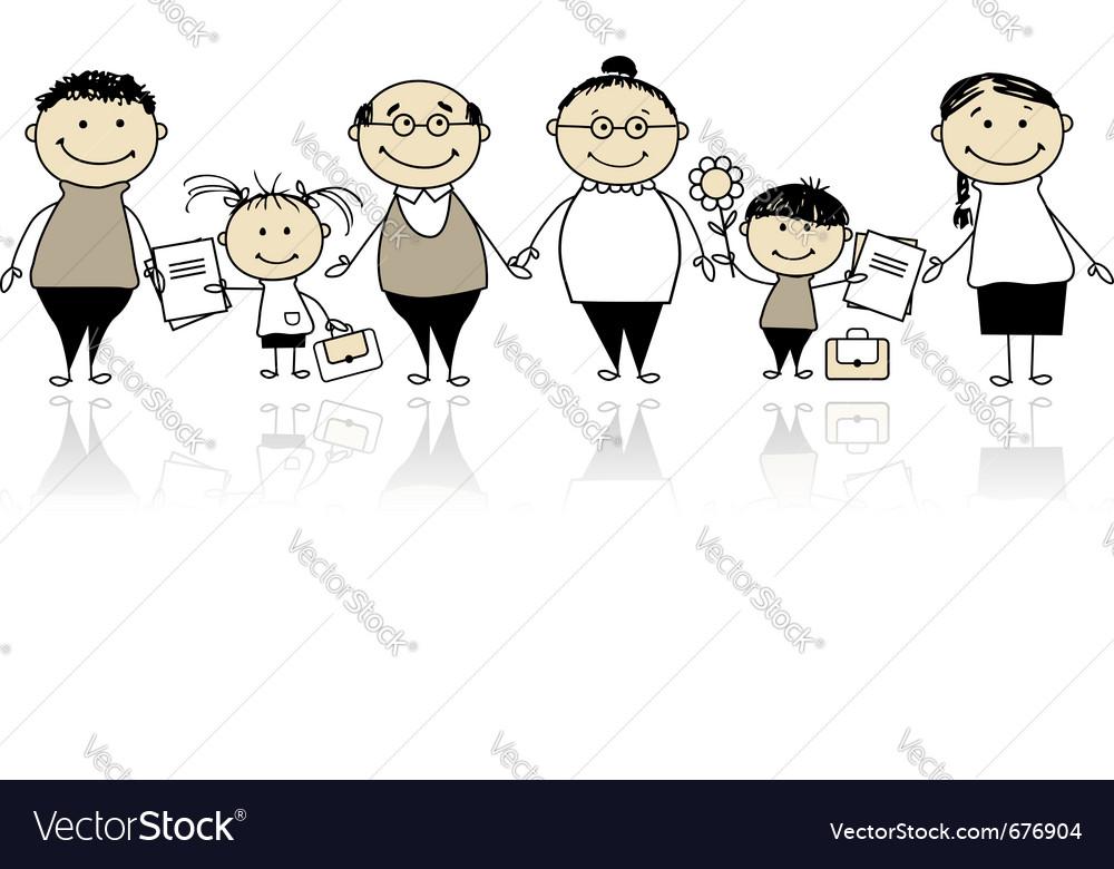 Back to school children vector | Price: 1 Credit (USD $1)