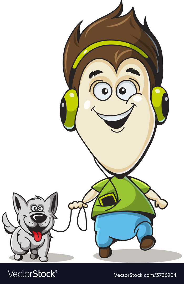 Boy in headphones with a dog vector | Price: 1 Credit (USD $1)