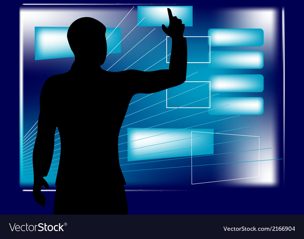 Businessman and monitor vector   Price: 1 Credit (USD $1)