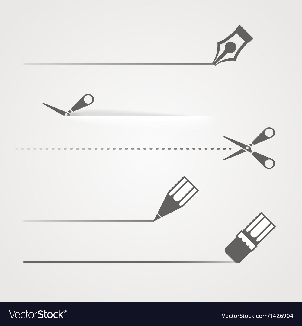 Dividers of scissors pen and crayon vector | Price: 1 Credit (USD $1)