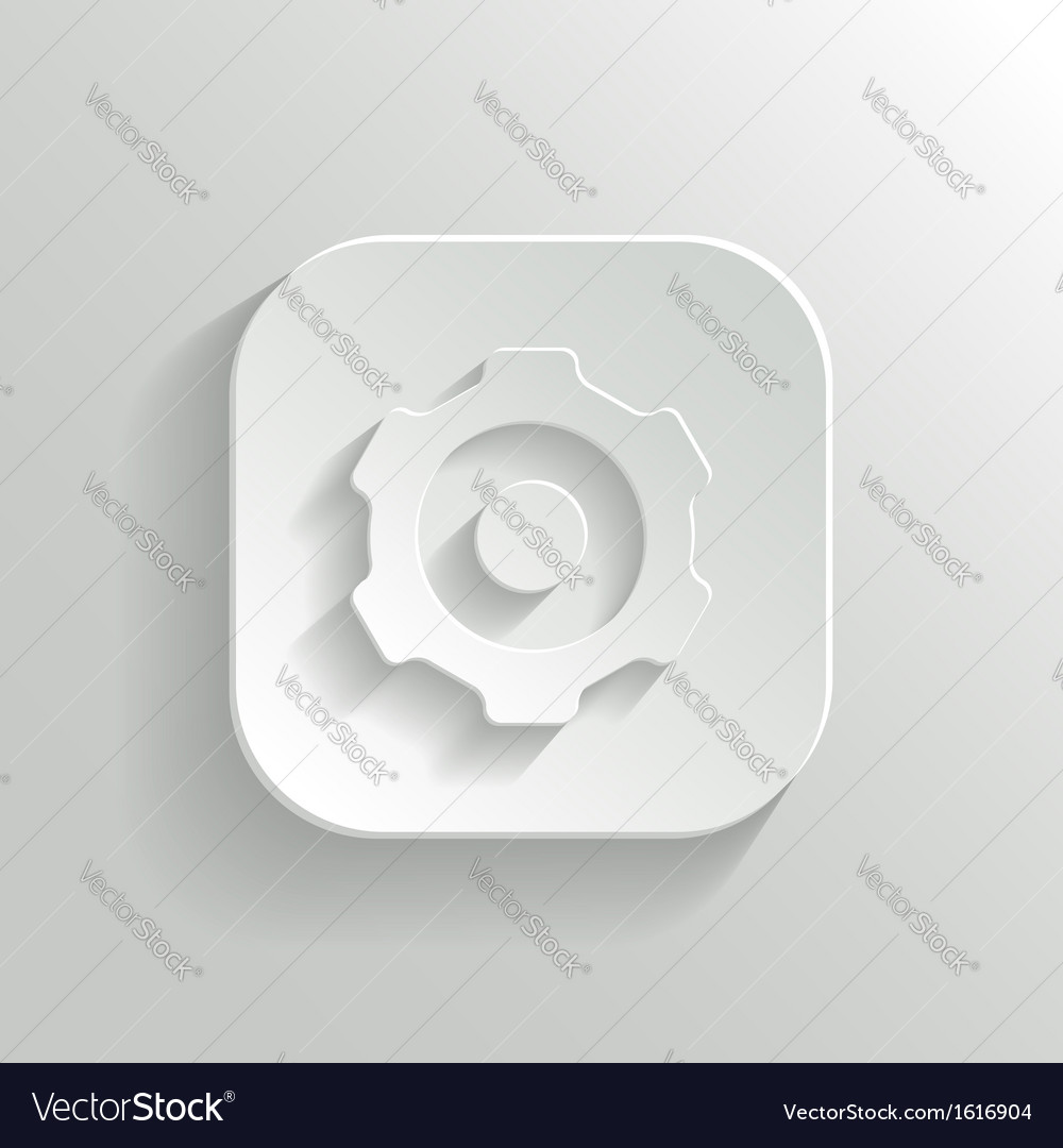 Gear icon - white app button vector | Price: 1 Credit (USD $1)