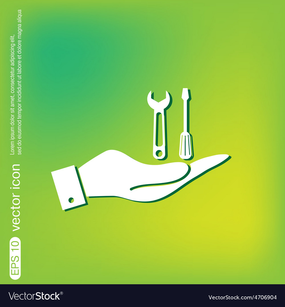 Hand holding a screwdriver and wrench symbol vector | Price: 1 Credit (USD $1)