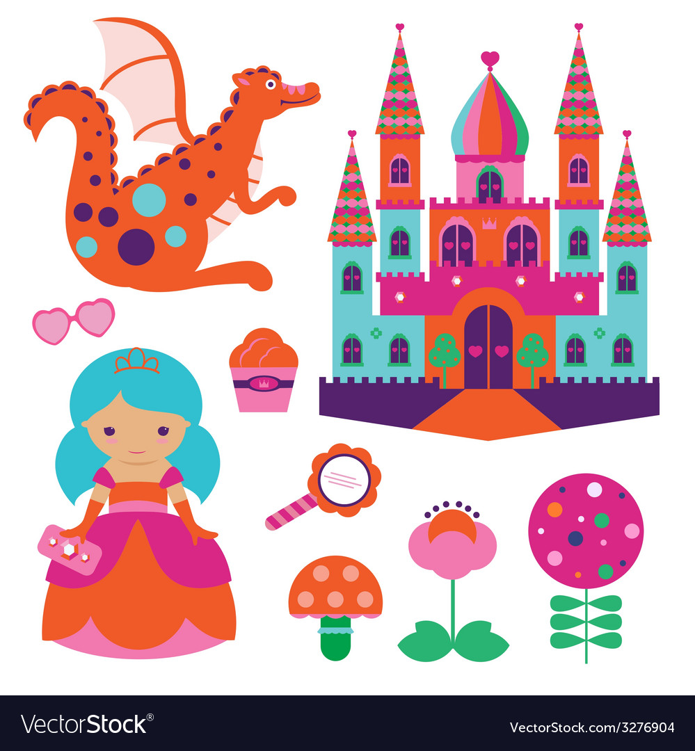Princess set vector | Price: 1 Credit (USD $1)