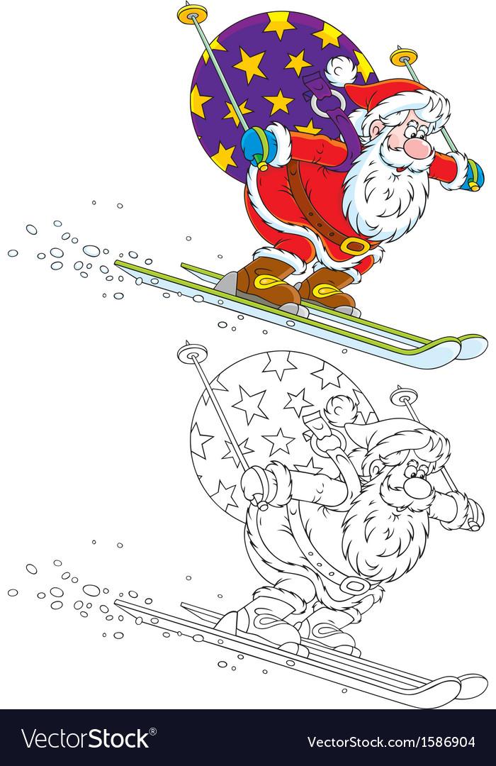 Santa skiing with christmas gifts vector | Price: 1 Credit (USD $1)
