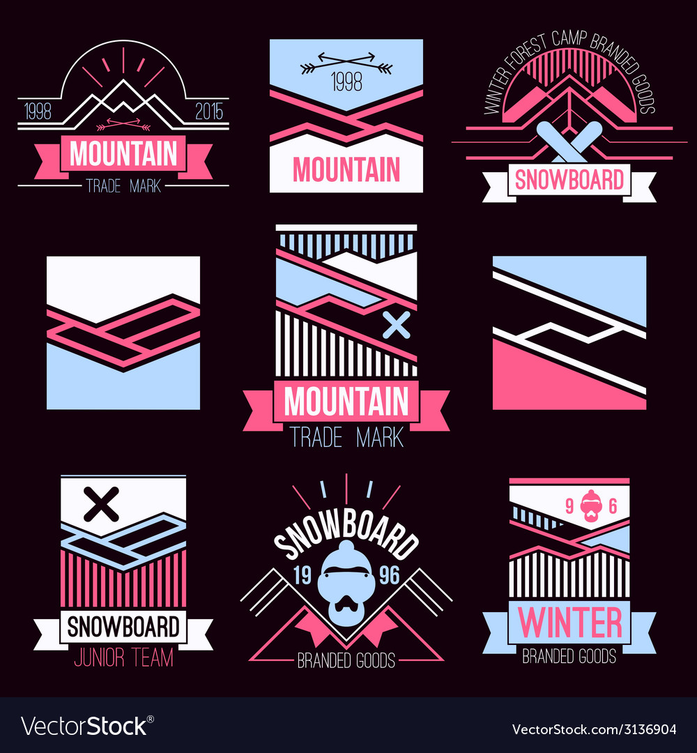 Snowboard and mountains emblems vector | Price: 1 Credit (USD $1)