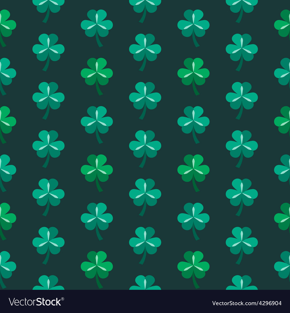 St patrick day seamless pattern with shamrock vector | Price: 1 Credit (USD $1)