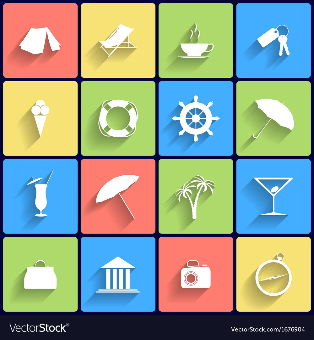 Traveling and vacarion flat icons vector | Price: 1 Credit (USD $1)