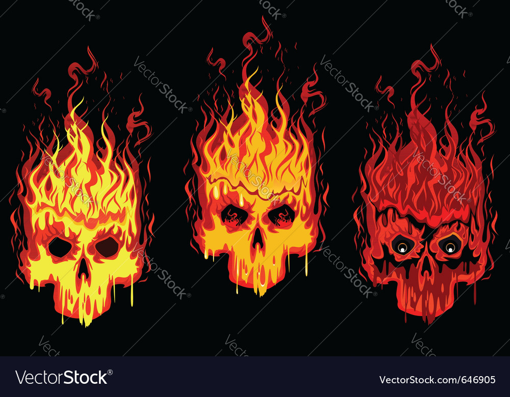Burning skulls vector | Price: 3 Credit (USD $3)