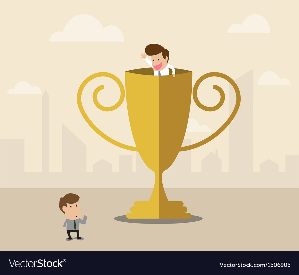Businessman inside winner trophy has a greeting vector | Price: 1 Credit (USD $1)