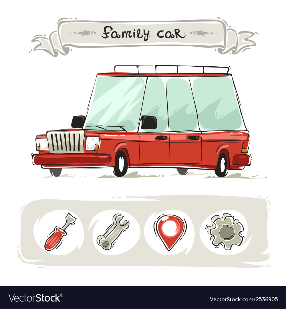 Cartoon family old car set vector | Price: 1 Credit (USD $1)