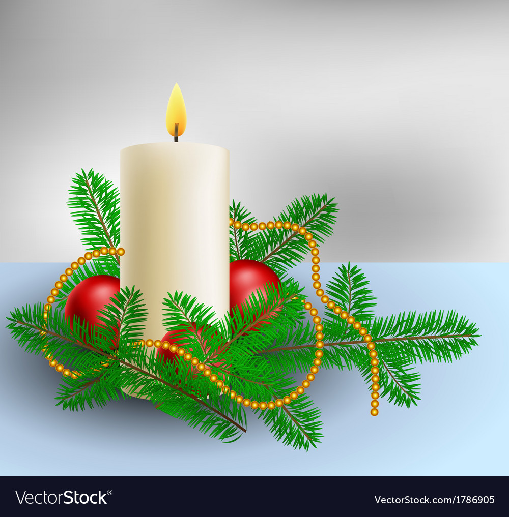 Christmas decoration with candle and pine branches vector | Price: 1 Credit (USD $1)