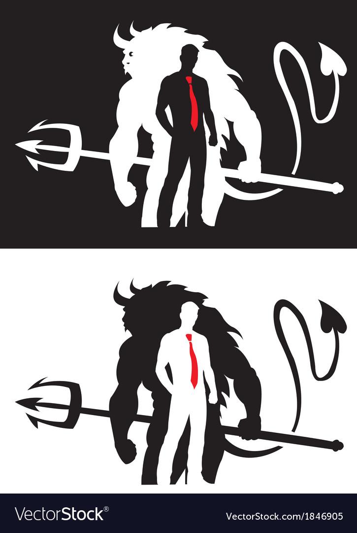 Devil and man vector | Price: 1 Credit (USD $1)