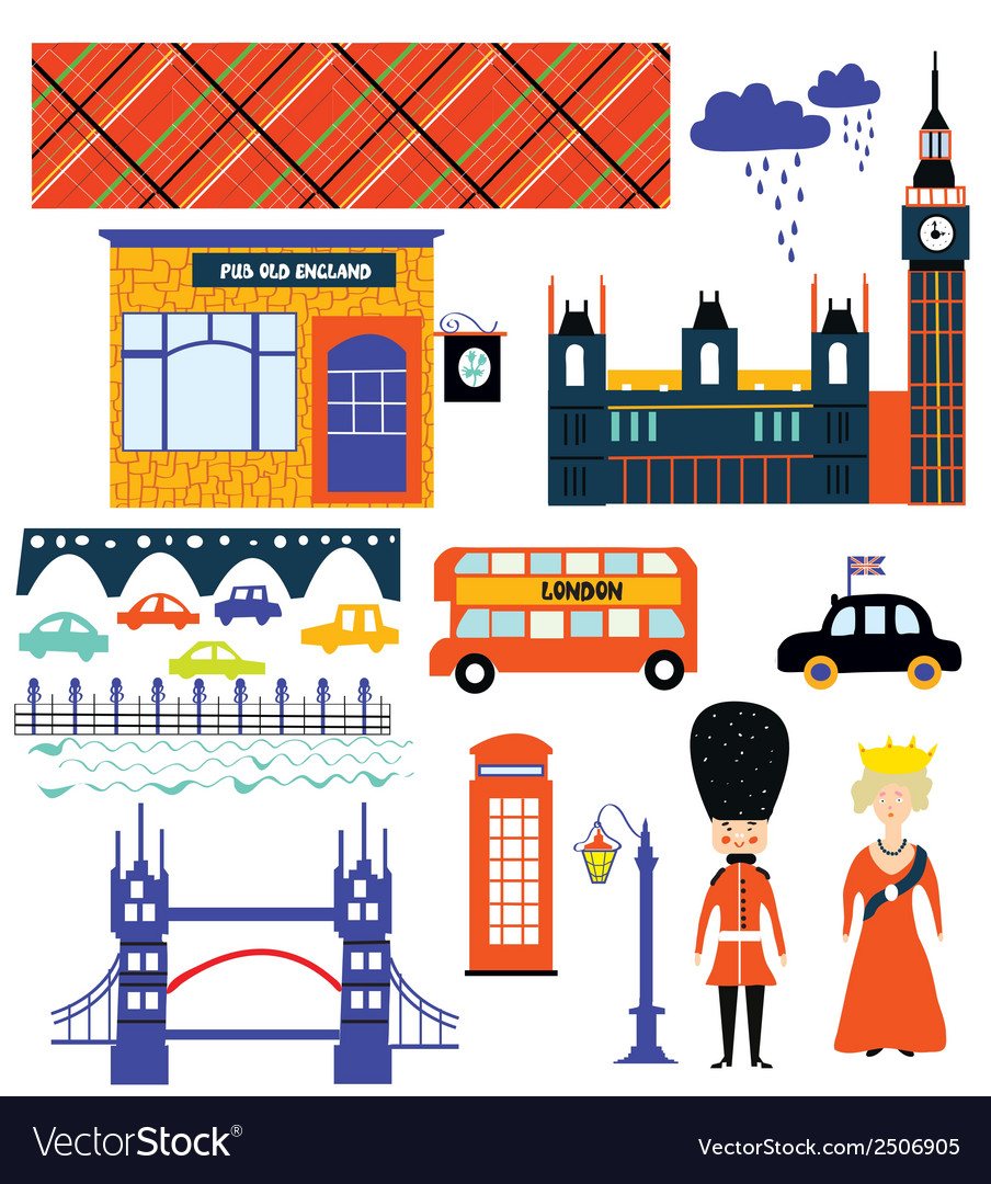 London landmarks and symbol set funny design vector | Price: 1 Credit (USD $1)