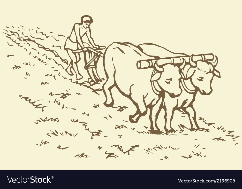 Peasant treated field vector | Price: 1 Credit (USD $1)