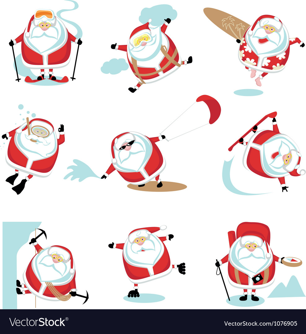 Santa extreme set vector | Price: 3 Credit (USD $3)