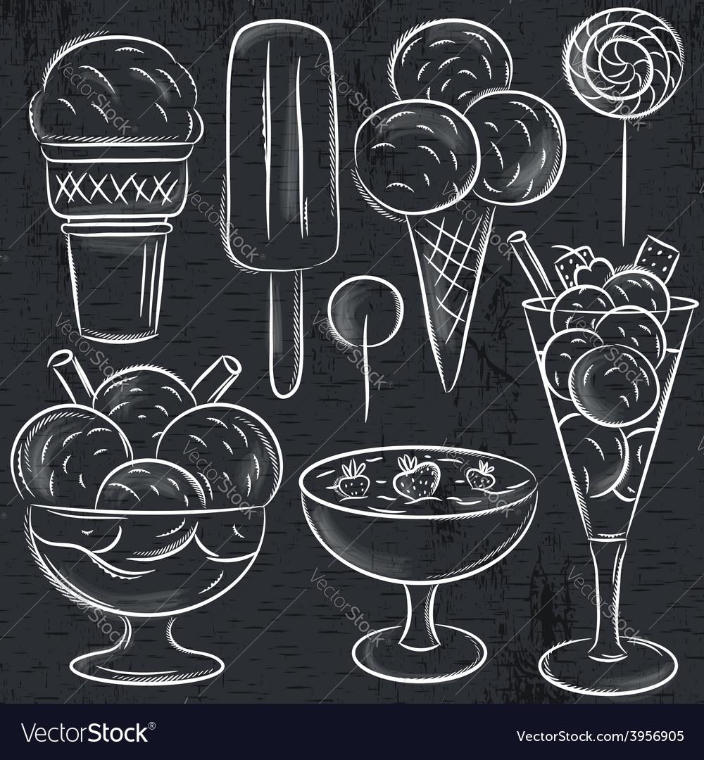 Set of different ice cream on blackboard vector