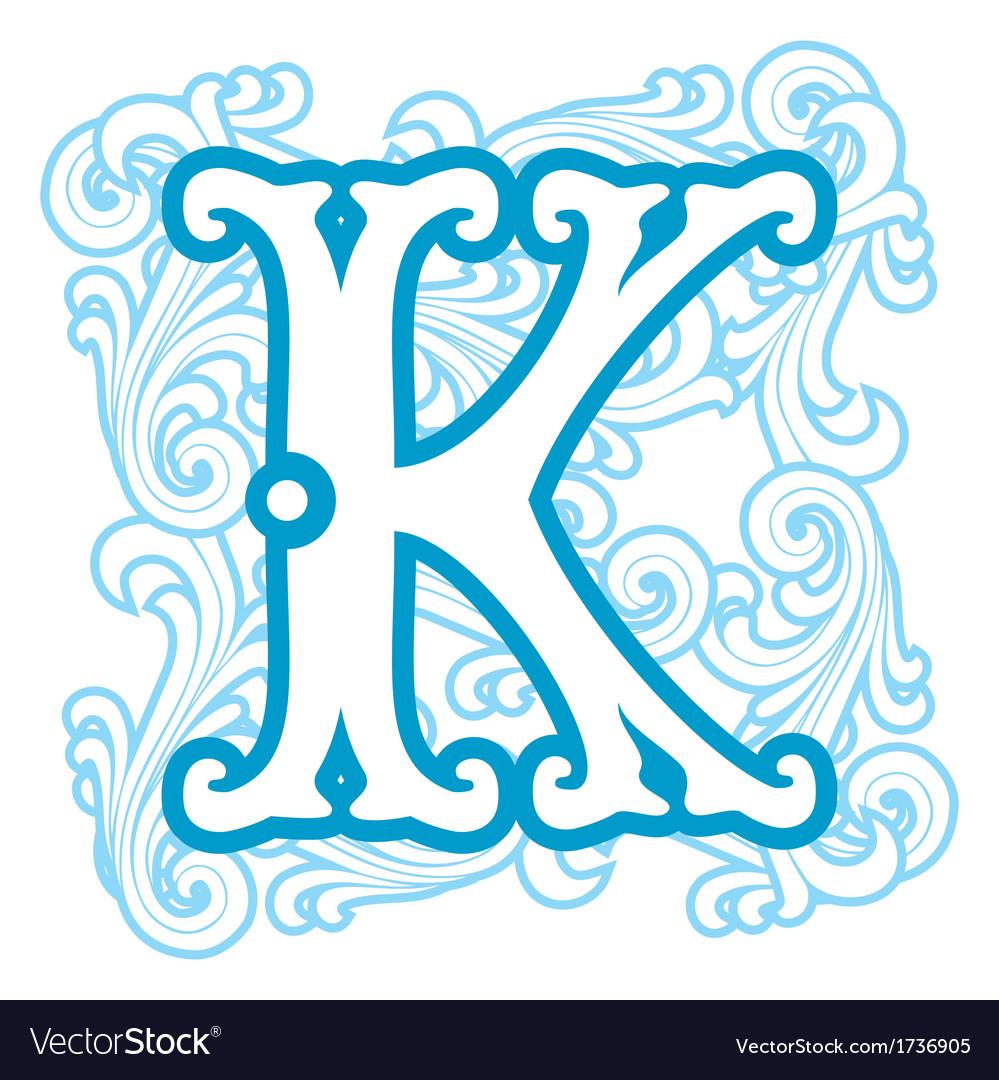Winter vintage letter k vector | Price: 1 Credit (USD $1)