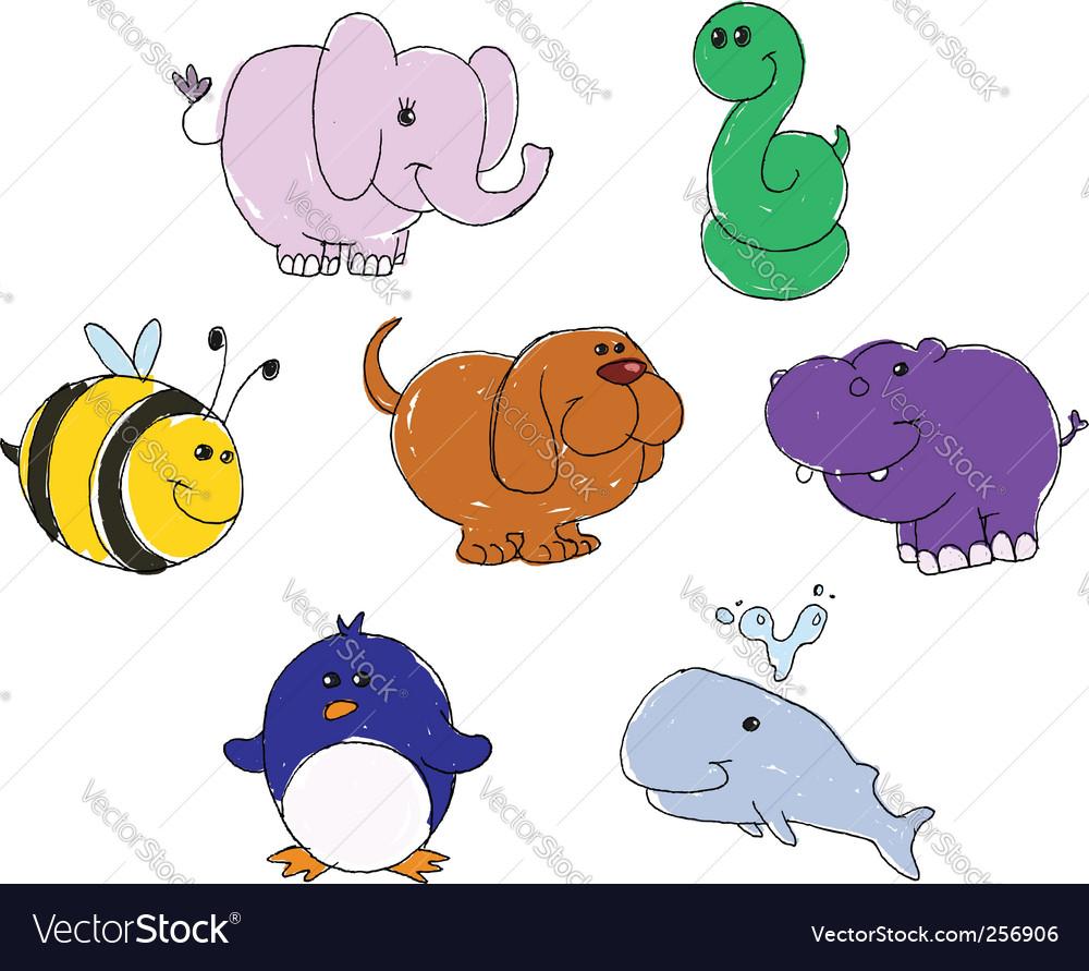 Animal doodles vector | Price: 3 Credit (USD $3)