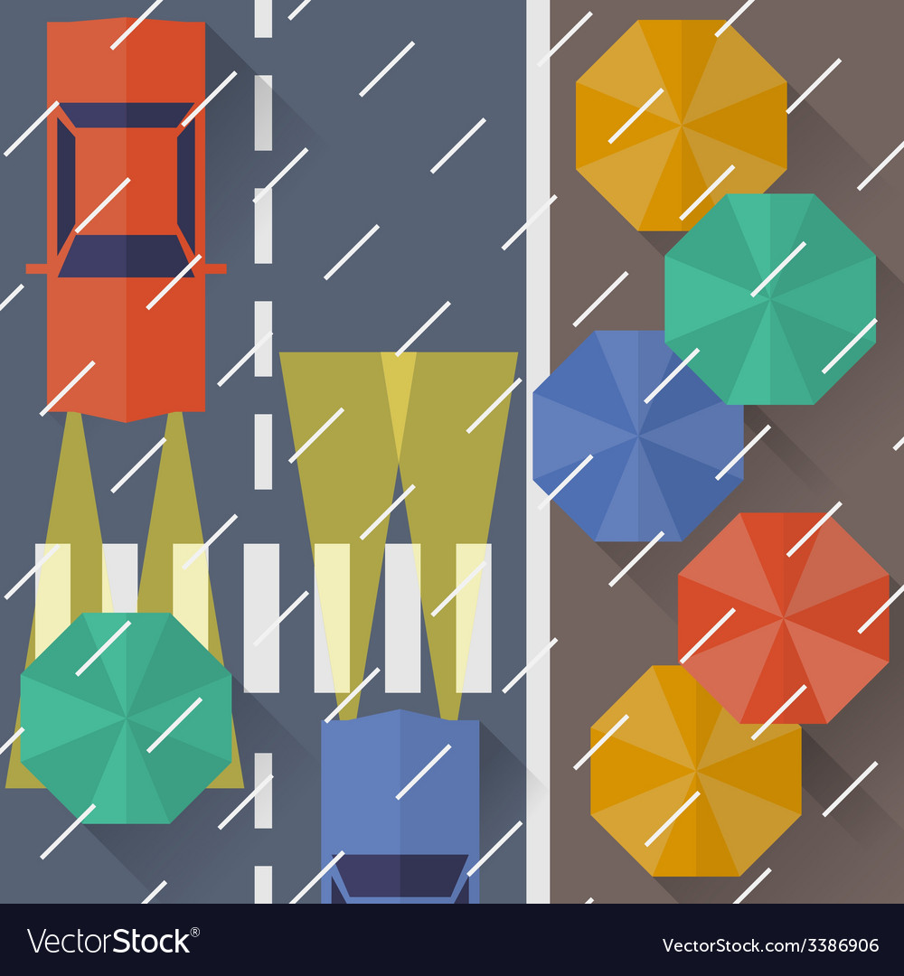 Autumn city rain a top view flat style vector | Price: 1 Credit (USD $1)