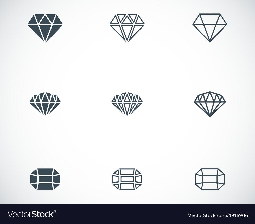 Black diamond icons set vector | Price: 1 Credit (USD $1)