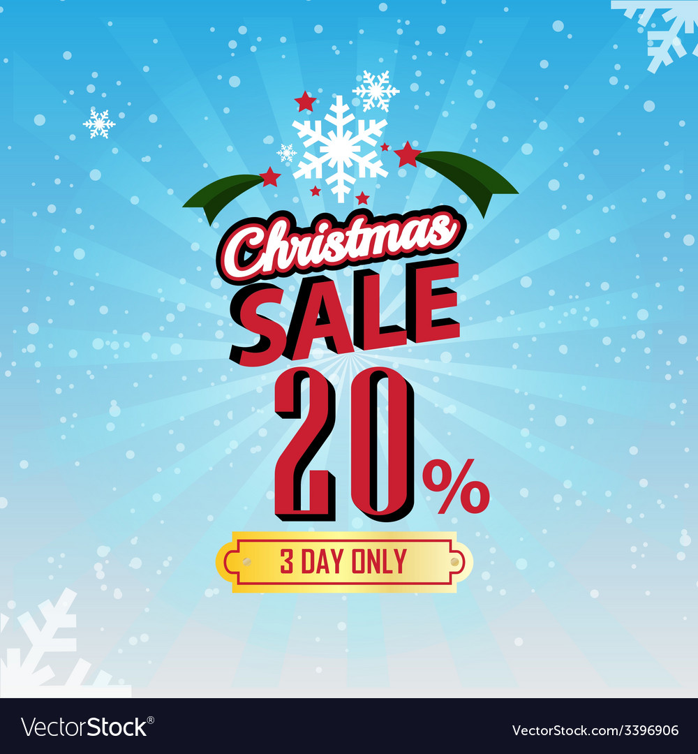 Christmas sale 20 percent typographic background vector | Price: 1 Credit (USD $1)