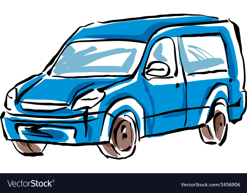 Colored hand drawn car on white background minivan vector   Price: 1 Credit (USD $1)