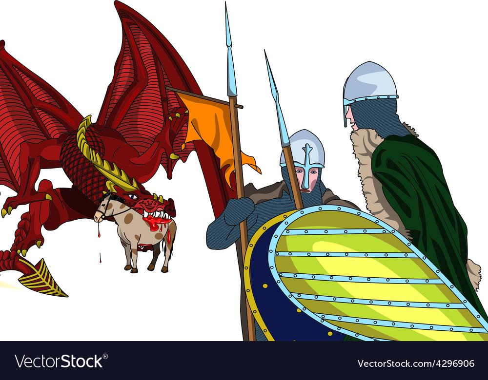 Dragon and knights vector