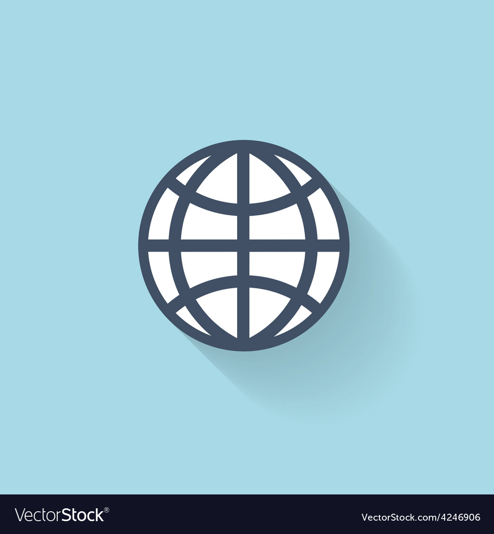 Flat web icon global network vector | Price: 1 Credit (USD $1)