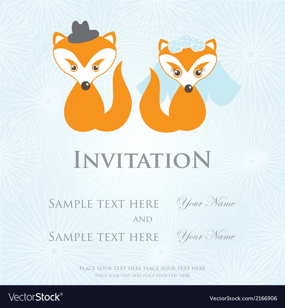 Hand drawn love wedding fox couple on background vector | Price: 1 Credit (USD $1)
