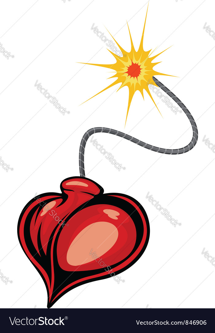 Heart bomb in cartoon style vector | Price: 1 Credit (USD $1)