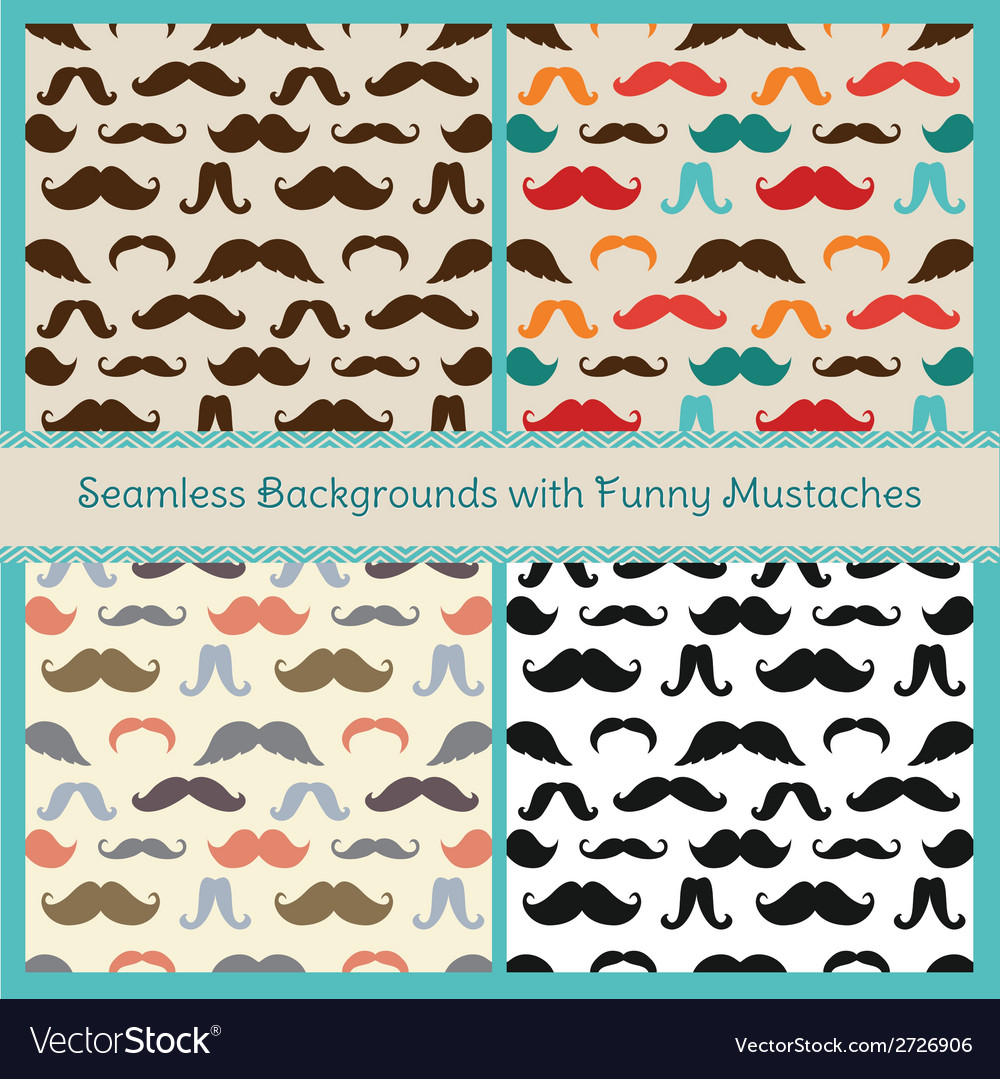 Hipster mustaches seamless patterns vector | Price: 1 Credit (USD $1)