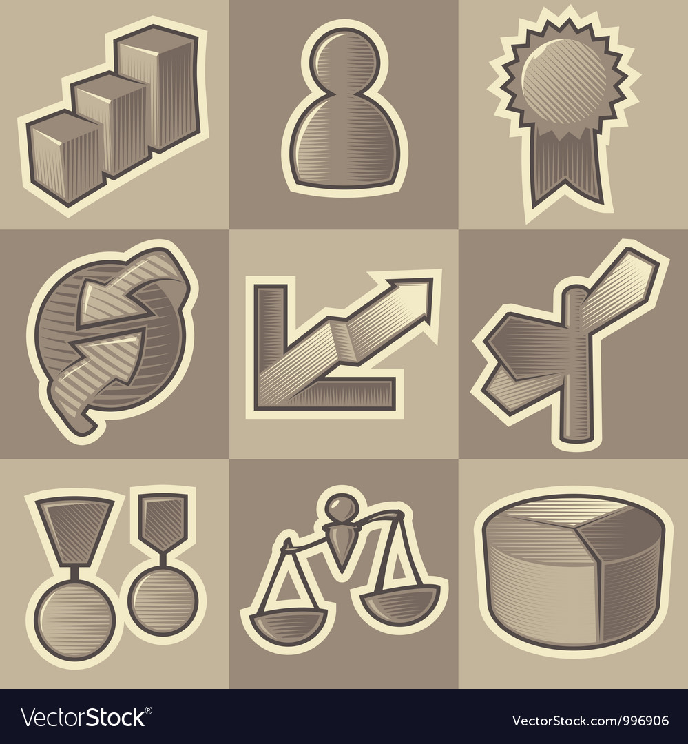 Monochrome business icons vector | Price: 1 Credit (USD $1)