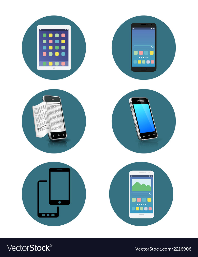 Set of 6 smartphone icon vector | Price: 1 Credit (USD $1)