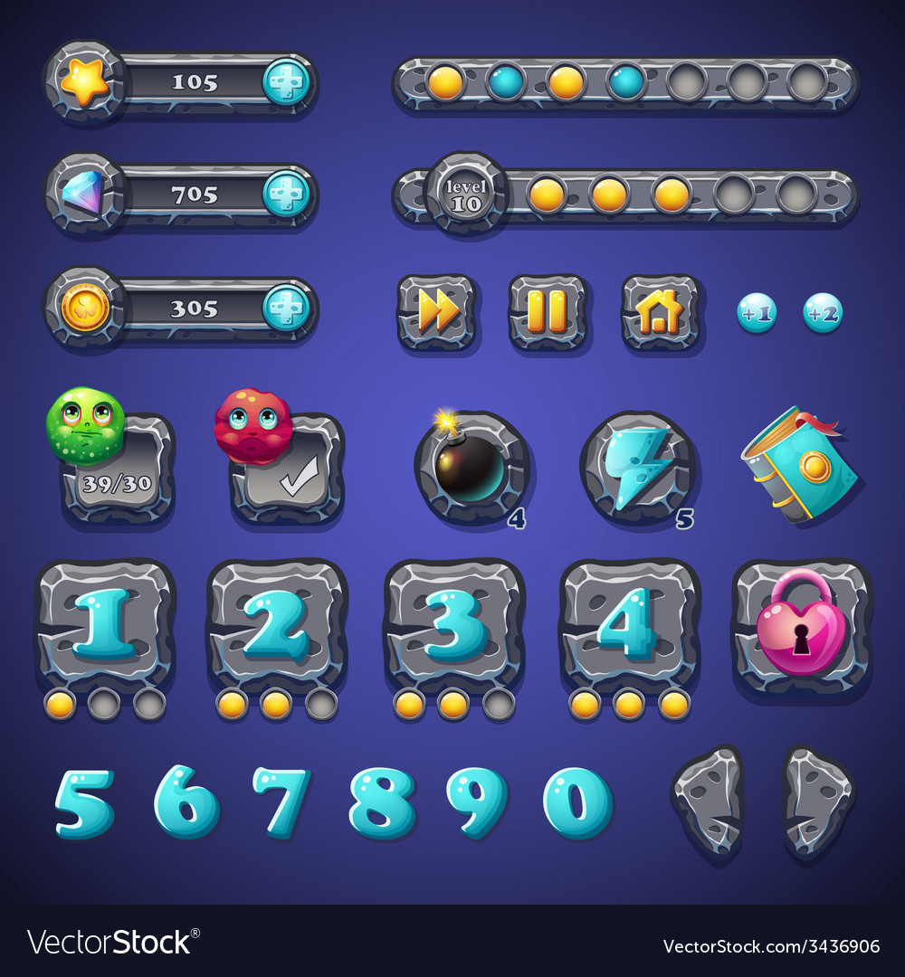 Set stone buttons progress bars bars objects coins vector   Price: 3 Credit (USD $3)